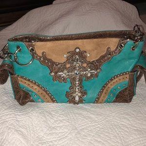 Handbags - Teal and brown cross purse